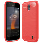 Flexi Slim Carbon Fibre Case for Nokia 1 - Brushed Red